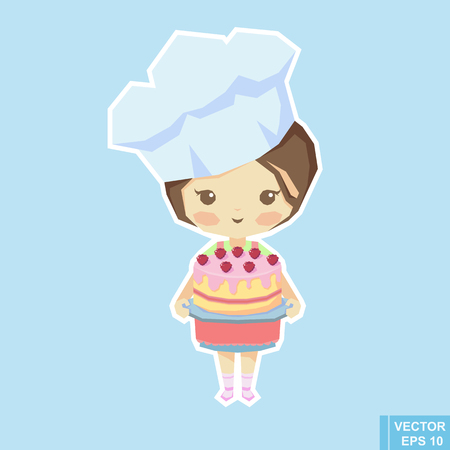 Illustration of Cute Little Girl Baking a Cake Vector illustration