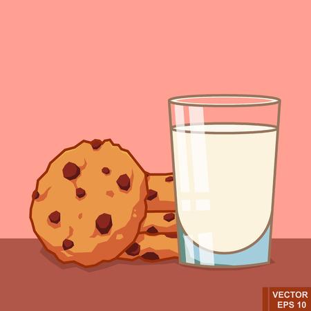 Vector de dibujos animados de vidrio de leche y galletas. Desayuno, comida, navidad, Ilustración, eps10
