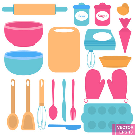 the applicant: Set for baking. For the preparation. Kitchen appliances. Isolated on white background.