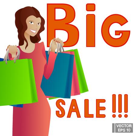 artoon: Vector illustration artoon character with shopping. Big sale Illustration