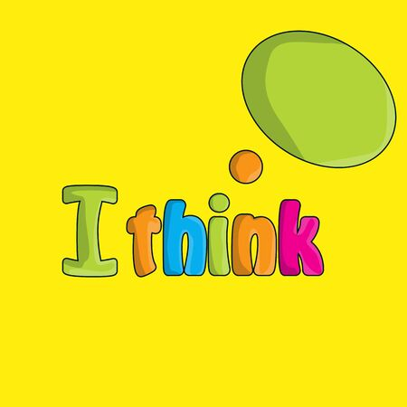 Cartoon I think inscription isolated on a yellow background. For your design. Stock Photo