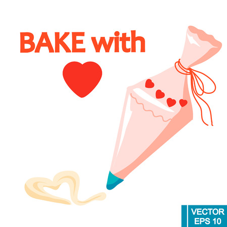 vector decorate cakes with cream from pastry bag.isolated illustration on white backgroung. kitchenware, cooking utensil.