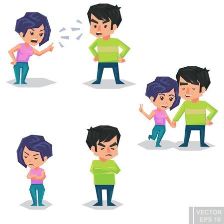 admire: Couple man and woman characters quarrel turning their back to each other, concept in conflict, angry, arguing, breakdown, or divorce lover hate and love each other. Vector flat cartoon illustration eps10