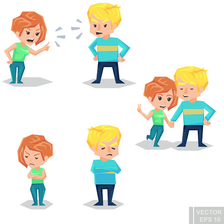Couple man and woman characters quarrel turning their back to each other, concept in conflict, angry, arguing, breakdown, or divorce lover hate and love each other. Vector flat cartoon illustration eps10
