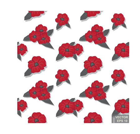 Red Camellia with black on a white background.Vector seamless pattern eps10