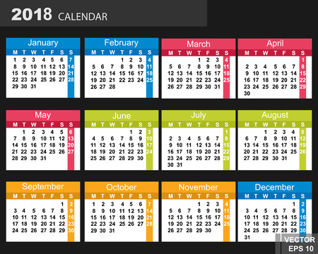 The calendar. New Year. 2018. Date. For your design.