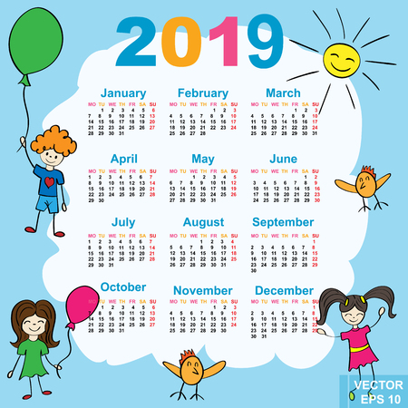 The calendar. New Year. 2019. Date. For your design. Illustration