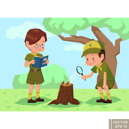 Children scouts in forest. Girlscout Boyscout Vector flat cartoon illustration eps10