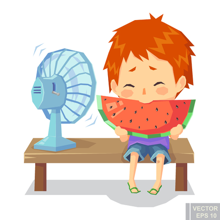 illustration of happy child boy enjoy eating watermelon in hot day with fan cartoon vector eps10. Illustration