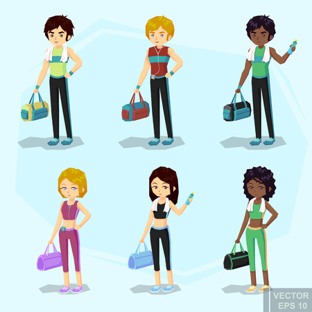 leggings: young fit blond woman and man in sportswear, with water bottle Bag, Player, towel after workout. African American blond boy and girl cartoon vector illustration eps10.