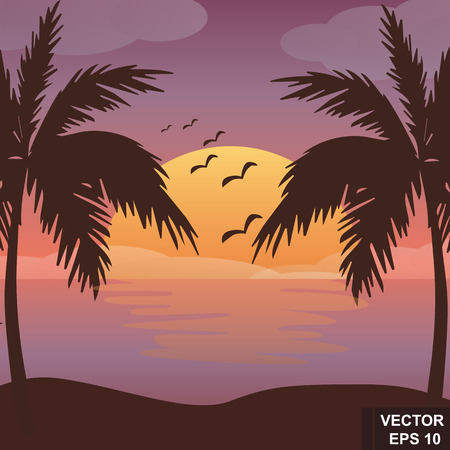 sunset palm trees: Summer landscape. Sunset. Palm trees and sea. For your design.