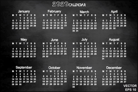 thursday: Calendar for the new year. 2020. Grid. Date. For your design.