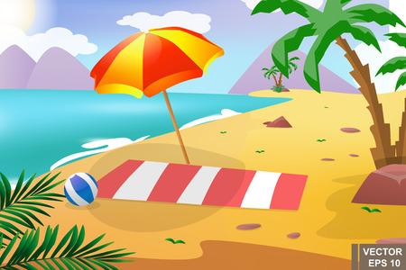 Summer beach. Recreation. The sun. Landscape. Cartoon. For your design.