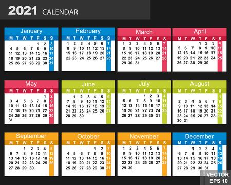The calendar. New Year 2021 date. For your design. Ilustração