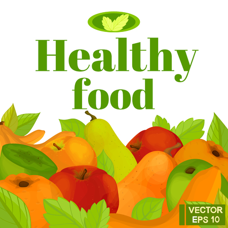 banana sheet: Vector background. Healthy food. A set of useful fruits Illustration