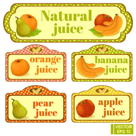 banana sheet: Vector elements. Labels, natural juice. Orange, banana, pear, apple