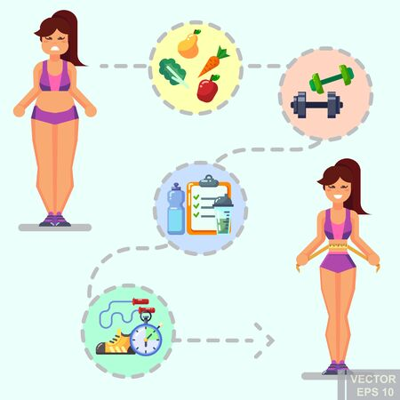 Healthy lifestyle. Vector flat icon set illustration sport running exercise gymnastic proper nutrition healthy food fruits vegetables vitamins cereals schedule From fat to healty and beautiful eps10. Illustration