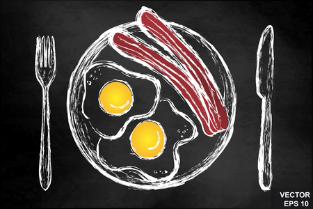 Scrambled eggs with bacon on a chalkboard. Breakfast. For your design.