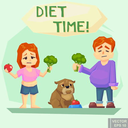 Diet concept. funny illustration of a boy man woman girl dog family who tries hard eat healthy food Vector illustration.