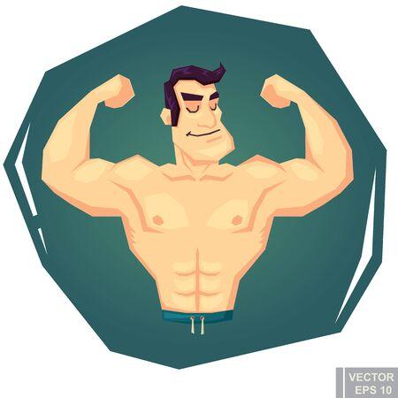 bulk: Muscle man showing his big biceps.