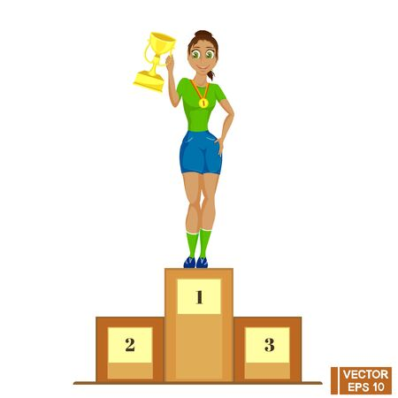 Vector image. Champion of the girl standing on the podium, holding a trophy Illustration