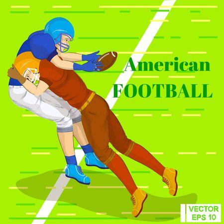 Vector illustration. American football. A collision of players. Quarterback attak offensive Illustration