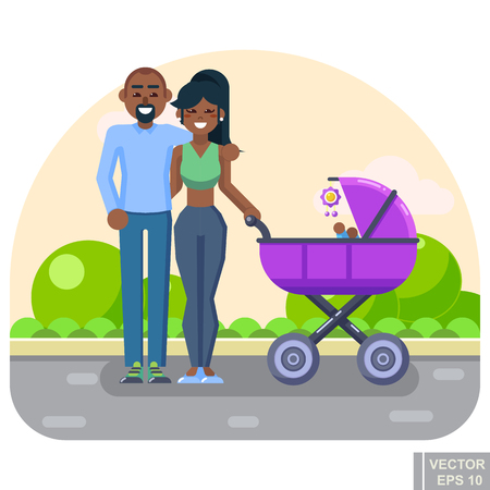 latina: Happy young family with a baby in stroller walking in Park concept flat vector illustration.