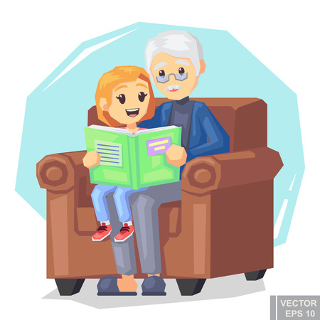 Illustration of kid granddaughter listening their grandfather reading a book story cartoon vector illustration eps10.