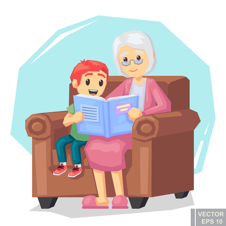 storybook: Illustration of kid grandson listening their grandmother reading a book story cartoon vector illustration eps10. Illustration