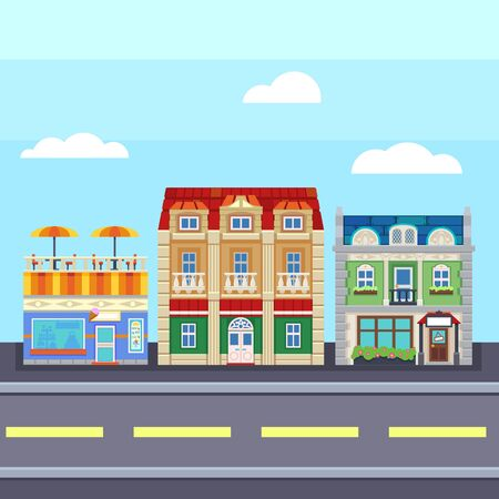 Small town urban landscape in flat design style, illustration. buildings, street ice cream shop, coffee cafe modern tiny friendly city