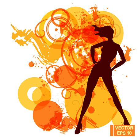 Vector image of a passionate female silhouette. Red abstract background