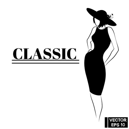 Vector Image. Graceful female silhouette in a classic black dress and hat. Woman in little black dress Vettoriali