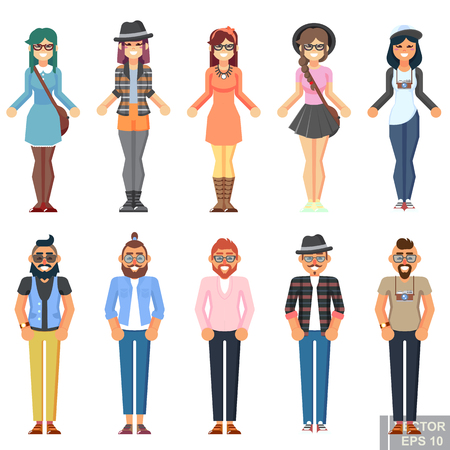 Hipster style bearded man young woman, character set avatar flat collection Geek pack guys girls set isolated vector illustration eps10 Illustration