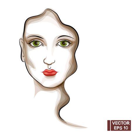 Vector Image. Beautiful female model face. Woman portrait