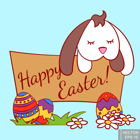Cute little rabbit hare sleeping on wooden banner with colorful Easter eggs in grass. Egg hunt in april cartoon vector illustration eps10.
