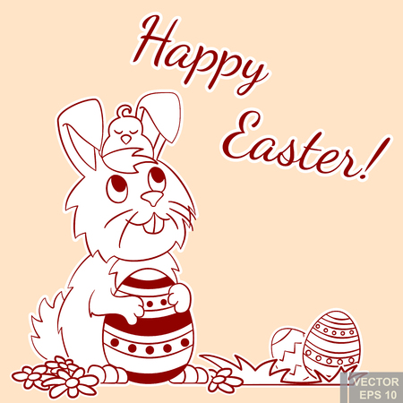 Easter Bunny with chicken on head holding ornate easter egg and smiling. cartoon vector illustration