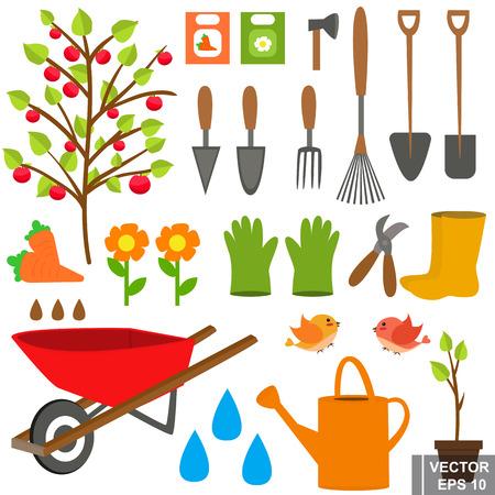 Set. Garden tools. Grow. Isolated on white background.