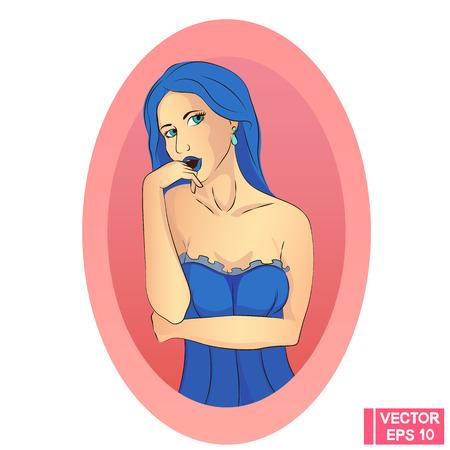 hot girl legs: Seductive girl in blue. Beautiful sexy woman in a corset.