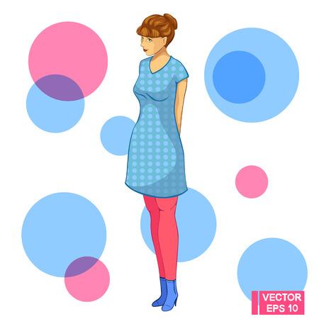 Vector image. A teenager girl mysteriously smiles. Girl in blue dress. Vektoros illusztráció