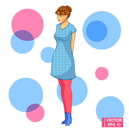 Vector image. A teenager girl mysteriously smiles. Girl in blue dress. Illustration