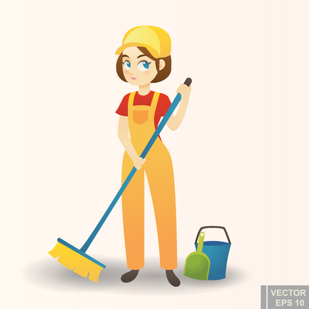 Illustration of a cute cartoon Girl Providing Housecleaning Service cartoon vector eps10. Illustration