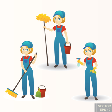 Illustration of a cute cartoon Girl Providing Housecleaning Service cartoon.