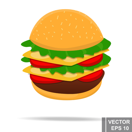 bun: Fast food. Delicious. Isolated on white background. Cheeseburger. For your design.