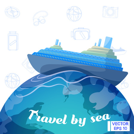 Vector image. Journey on the ship. Travel by sea. Illustration