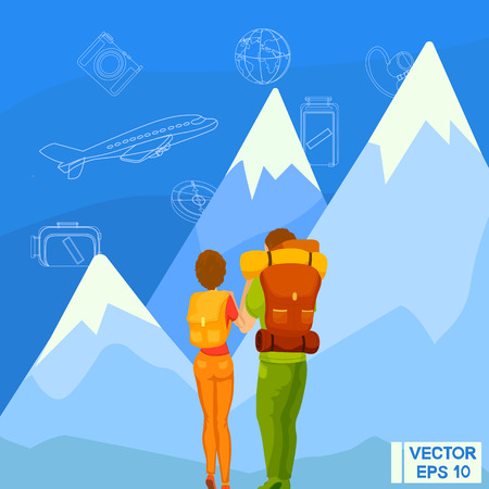 Vector illustration. Travelers look at the mountains. Journey through the mountains. Conquer the Heights