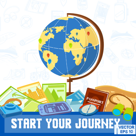 Vector illustration. Globe compass, travel. Start your journey. Beginning of travel Zdjęcie Seryjne - 75373584