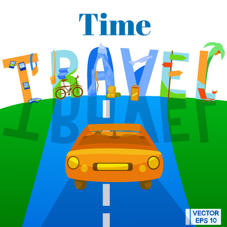 camper: Vector illustration. Travelling by car. The car is driving along the road. Time for travel