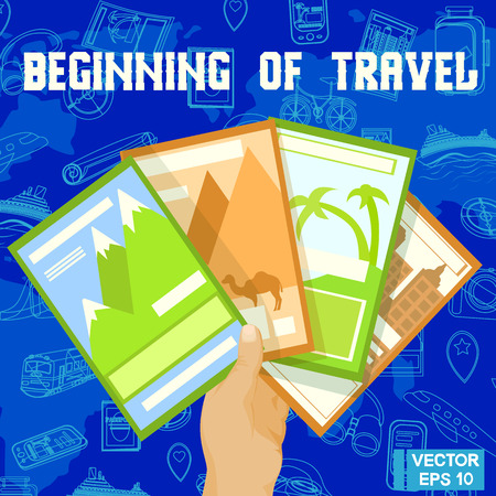 guides: Vector image. Travel guides for travel. Holds brochures in hand. Choose where to travel