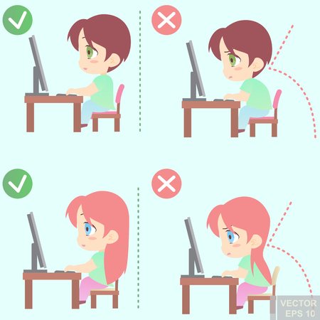 incorrect: Vector - Correct body alignment in sitting working with computer eps10 Illustration