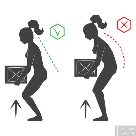 Black woman silhouette correct back position, vector illustration right person posture